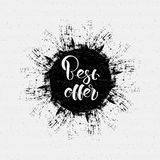 The best offer, lettering on the ink blot royalty free illustration