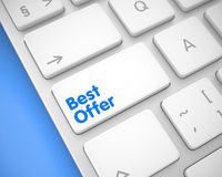 Best Offer - Message on the White Keyboard Keypad. 3D. Up Close View on the Modernized Keyboard - Best Offer White Key. Online Service Concept: Best Offer on Stock Image