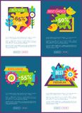 Best Offer with 50 Off Online Promo Banners Set. Exclusive premium discount commercial Internet pages templates. Big sale posters vector illustrations Vector Illustration