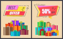 Best Offer -50 Off Promo Labels with Stars Icons Stock Photography