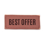 Best offer, old vintage handmade leather label Stock Photos