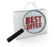 Best offer. One shopping bag with text: best offer, and a magnifying glass, concept of search for the best deal (3d render Stock Photo