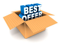 Best offer out of the box. White background, text in blue and white, concept of discounts and deals Royalty Free Stock Photo