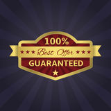 Best Offer. 100 percent Guaranteed golden icon. Vector illustrator vector illustration