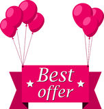 Best offer pink flat ribbon with balloons Stock Images