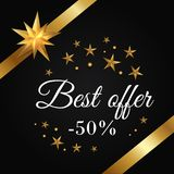Best Offer -50 Promo Poster with Golden Ribbons Stock Photo