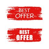 Best offer on red drawn banner Royalty Free Stock Photography