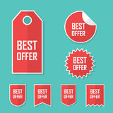 Best offer sale sticker. Modern flat design, red color tag. Advertising promotional price label. Stock Images