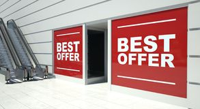 Best offer on shopfront windows and escalator Stock Image