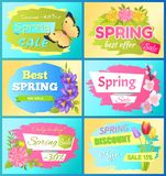 Best offer spring sale advert labels flowers set. Collection of spring big sale advertising labels daisy flowers and anemone blossoms vector illustration color Stock Photos