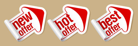 Best offer stickers. Royalty Free Stock Photography