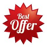 Best offer tag (vector). Red sticker (icon) Royalty Free Stock Photography