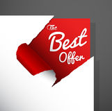 `The Best Offer`. Text uncovered from teared paper corner royalty free illustration