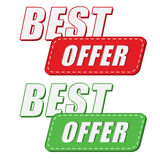 Best offer in two colors labels, flat design Stock Photo