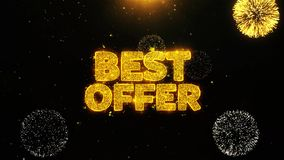 Best Offer Wishes Greetings card, Invitation, Celebration Firework Looped. Best Offer Text Sparks Particles Reveal from Golden Firework Display explosion 4K stock illustration