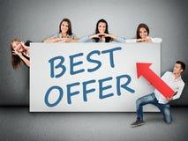 Best offer word on banner Stock Image