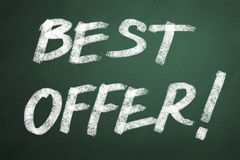 Best offer words on chalkboard Royalty Free Stock Image