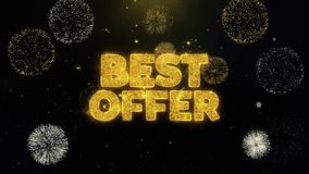 Best offer written gold particles exploding fireworks display. Best offer written gold glitter particles spark exploding fireworks display 4 k . greeting card vector illustration