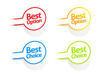 Best option and choice sticker collection Royalty Free Stock Image