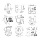 Best Organic Milk Product Set Of Hand Drawn Black And White Sign Design Templates With Calligraphic Text. Collection Of Promotion Ads For Daily Farm Milk Of Royalty Free Stock Images