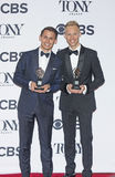 Best Original Music and Lyrical Score Winners. Benj Pasek and Justin Paul celebrate at the 71st Annual Tony Awards in the media room at 3 West 51st Street, a Royalty Free Stock Image