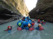 Best Outdoor in in Nepal. White water rafting in upper seti river . best river stock image
