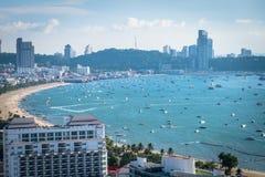 Best panoramic view of Pattaya viewpoint from Pratumnak Hill. Pattaya city skyline in Chonburi Thailand royalty free stock images