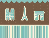 Best Paris sights. Vector illustration. Paris sights: Eiffel tower, triumphal arch, Notre Dame Cathedral. Vector illustration Stock Image