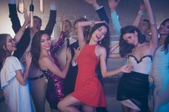 Best party big large mood Two girls in fabulous dress, skirt da royalty free stock photos
