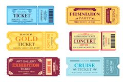 Best Party Gold Ticket Set Vector Illustration. Best party gold ticket, cinema and theatre, cruise trip, exhibition and presentation party, collection vector Royalty Free Stock Photo