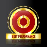 Best performance gold logo/badge with gear icon royalty free illustration