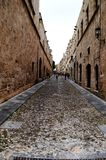 Alley in the old town of Rhodes. stock photography