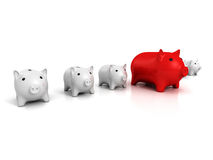 Best piggy bank choice business finance concept. 3d render illustration Royalty Free Stock Image