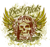 Best Pilots. Vector illustration ideal for printing on apparel clothes Stock Photos