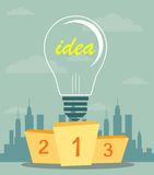 Best podium place for inventions. Pedestal with a light bulb in the first place symbolizing the power of the idea. Best podium place for inventions vector Royalty Free Stock Image
