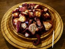 The Best polbo of Camino in Melide, pulpo Octopus kraken in Spai stock images