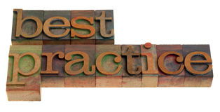 Best practice. Words in vintage wooden letterpress printing blocks isolated on white Stock Photos