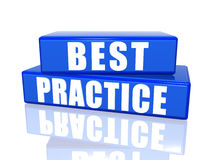 Best practice. 3d white over blue boxes Stock Image
