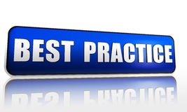 Best practice. Blue 3d banner with text Stock Images