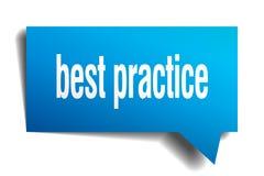 Best practice blue 3d speech bubble. Best practice blue 3d square isolated speech bubble Royalty Free Stock Photos