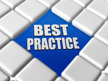 Best practice in boxes. Best practice - text in blue between 3d grey boxes keyboard Royalty Free Stock Photos