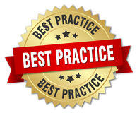 Best practice 3d gold badge. With red ribbon Royalty Free Stock Photos