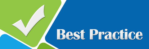 Best Practice Green Blue Rounded Squares. Best practice concept image with text and related symbol over green blue background vector illustration