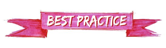Best practice ribbon. Best practice hand painted ribbon sign royalty free illustration