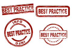 Best practice ink stamp set stock images