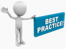 Best practice. Label presented in blue color, by a little 3d man, white background Royalty Free Stock Images