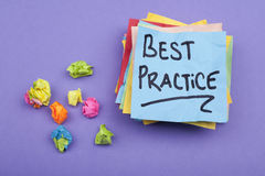 Best Practice. Note on adhesive stack Royalty Free Stock Photography