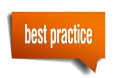 Best practice orange 3d speech bubble. Best practice orange 3d square isolated speech bubble Stock Photography