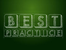 Best practice over green blackboard. Best practice - white chalk text over green blackboard, business professional service concept words royalty free illustration