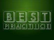 Best practice over green blackboard Stock Photo